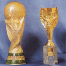 The World Cup  Trophy and the new Jules Rimet Trophy